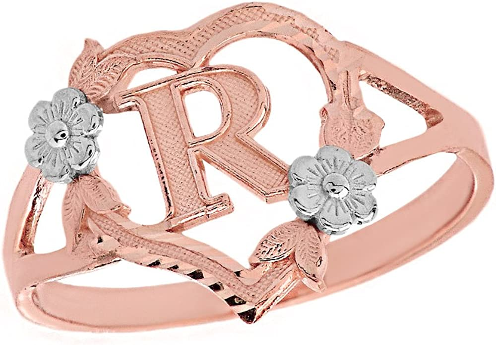 CaliRoseJewelry 14k Gold Initial Alphabet Personalized Heart Ring Letter R