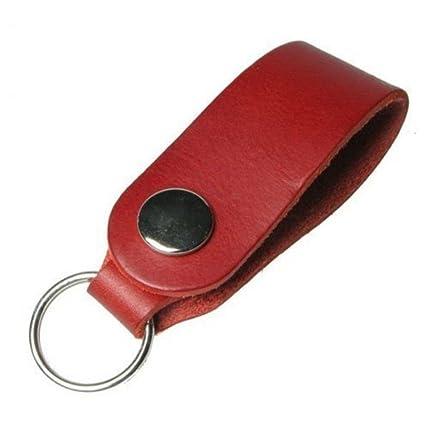 Handmade Italian Leather Press Stud Key Ring Fob Keychain Black Brown