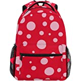 EELa Pink Ladybug Pattern Casual Backpack Hiking Travel Rucksack