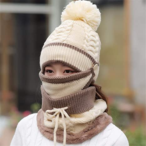 4ba3d79bad8b0 Gxinyanlong Women s Winter Heating line hat Plus Velvet Thickening Winter  Riding Wind Protection Ear Knitted Cap