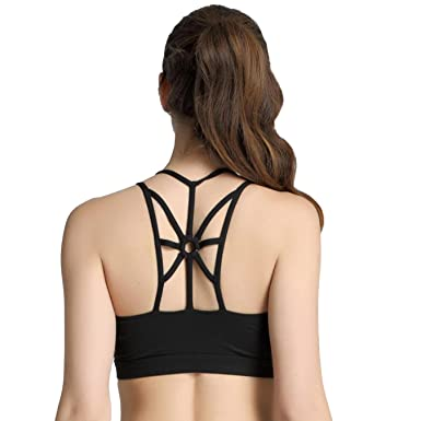 9a8bbeb7f3 Women High Impact Strappy Open-Back Shockproof No Rims Slim Back Sports Top  Yoga Bra
