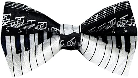 Men/'s Women/'s Bow Tie Black White Music Keyboard All Neck Sizes Polyester NEW