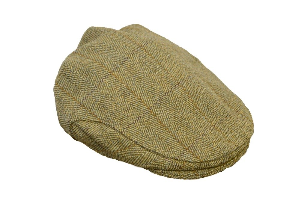 Walker and Hawkes Men's Derby Tweed Flat Cap Hunting Shooting Countrywear Hat Medium Light Sage