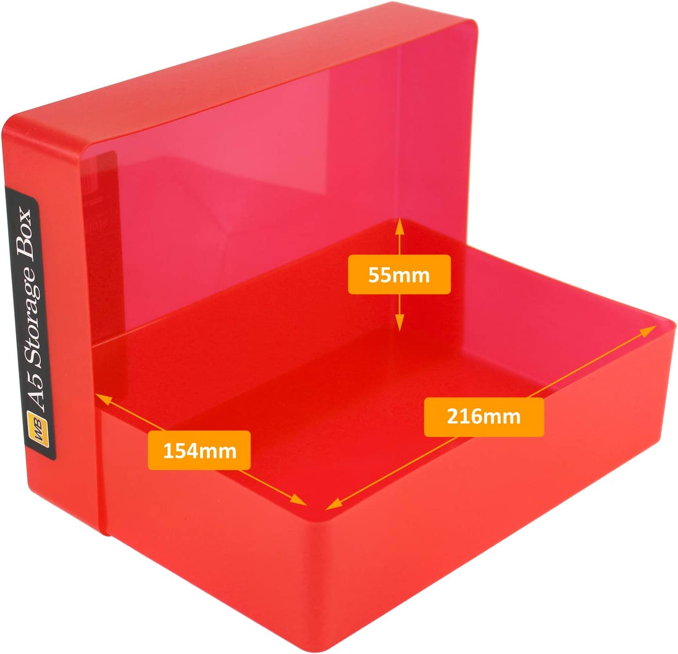 WestonBoxes Aufbewahrungsbox aus Kunststoff f/ür 500 Blatt Rot, 5 St/ück 216x154x66mm DIN A5