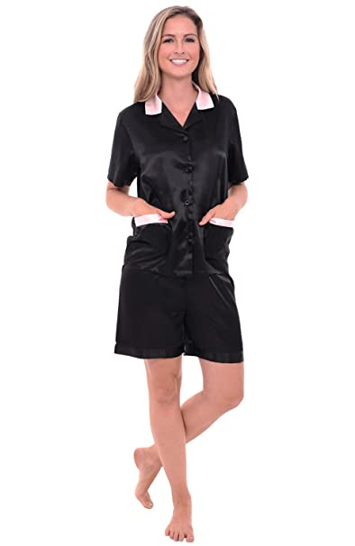 Alexander Del Rossa Womens Satin Pajamas, Short Sleeve Pj Set at Amazon Womens Clothing store:
