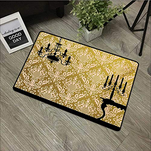 Outdoor Door mat W31 x L47 INCH Damask,English Country House Damask Motif on Wall and Chandelier Silhouettes Renaissance,Yellow Black Easy to Clean, Easy to fold,Non-Slip Door Mat Carpet