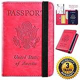 Passport Holder Cover Wallet RFID Blocking Leather Card Case Travel Document Organizer (America-Rose Red)