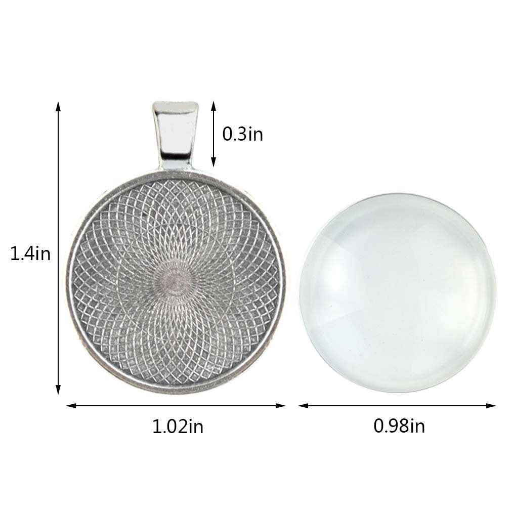 Yolyoo 40 Pcs Silver Pendant Tray with 40 Pcs Transparent Glass cabochons Round Pendant Bezel 1 inch/25mm for Crafting DIY Jewelry Gift Making