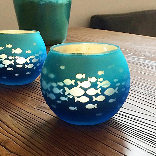 Glass Votive Candle Holder, Fish Bowl Candle Holder with Mosaic Glass,Handmade Artwork for Happy Birthday, Home Decor, Christmas, Wedding Party, Mother's Day Gifts, Blue (Fish Votive Holder)
