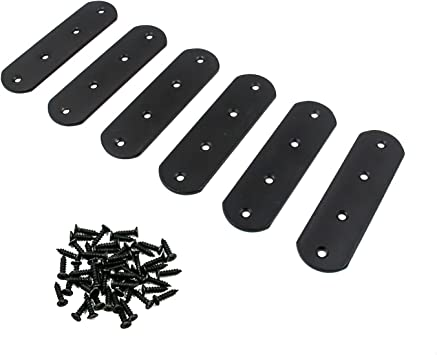 Flat Straight Mending Brace T Shaped with Screws Set of 20 LxW Mending Plate Black Karcy Flat Straight Brackets 50x50mm//1.97x1.97
