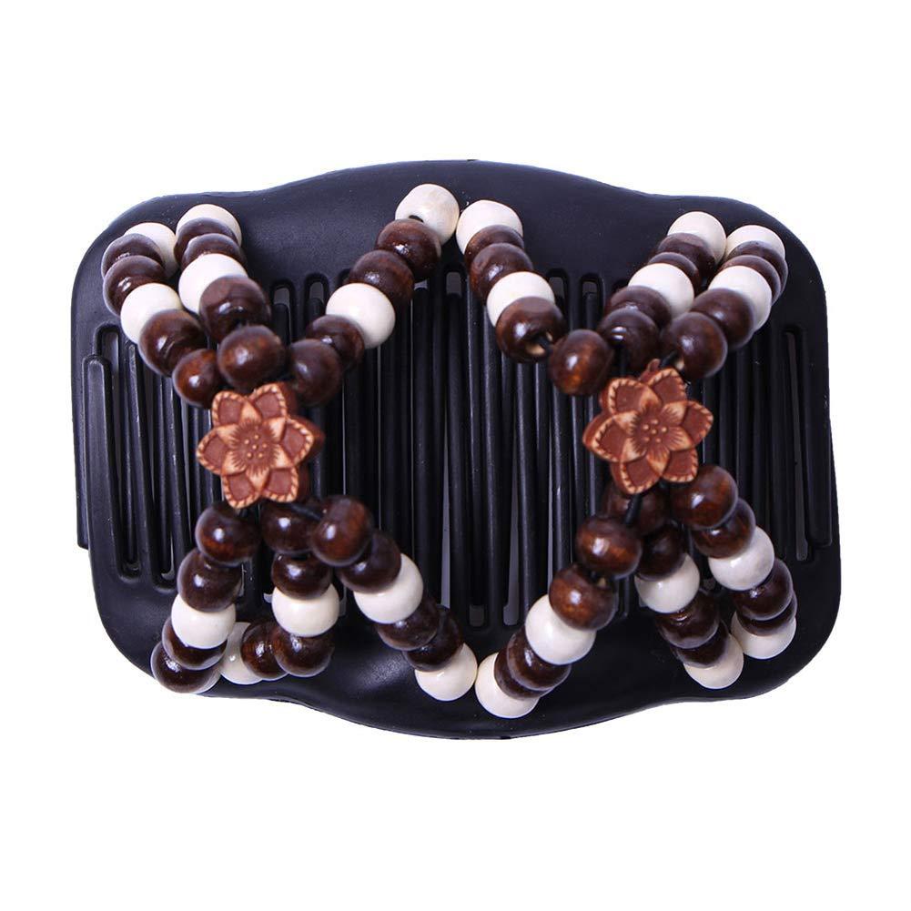 Steellwingsf Doppio legno perline pettine capelli per donne Headwear Hair Styling Clip pettine accessorio - 3#