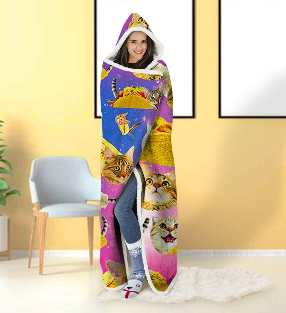ALISISTER Hooded Blanket Adult Women Men 3D Funny Galaxy Pizza Cat Sherpa Plush Fleece Wearable Throw Blanket 60 X 80 Inches Home Sofa Winter Super Soft Lightweight for Bed Room Spring