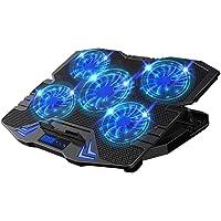Enfriador para Laptop, Sebami Base de refrigeración para ordenador portatil con 5 Ventiladores Ultrasilenciosos con LED…