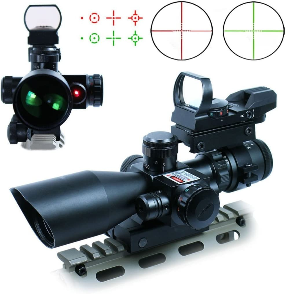 Chinoook 2.5-10X40 Tactical Rifle Scope w Red Laser Holographic Green Red Dot Sight