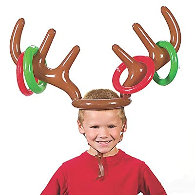 Inflatable Reindeer Antler Hat Ring Toss Christmas Holiday Party Game Photo Props Tools Christmas Headband: Toys & Games