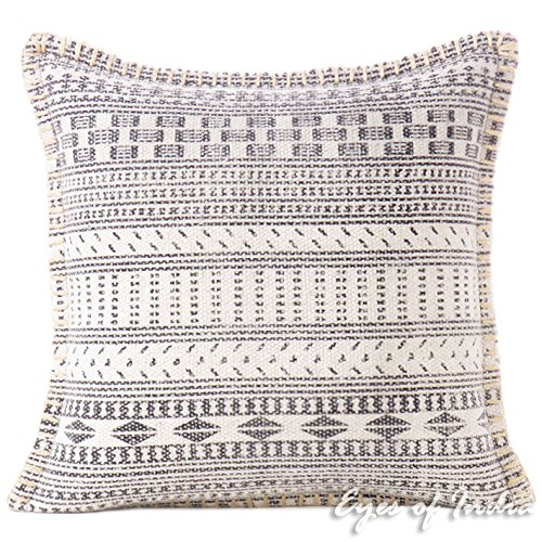 Eyes of India - 16'' White Gray Grey Dhurrie Printed Colorful Decorative Pillow Cover Throw Sofa Lumbar Cushion Couch Bohemian Indian Boho SeatingCover Only