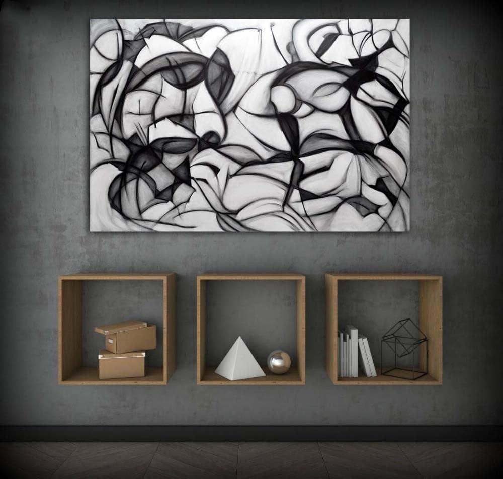 XIAOXINYUAN Lienzo Acrílico Pintura Abstracta Cuadros De Pared Blanco Y Negro para El Salón Dormitorio Decoración Moderna Imagen 70X105Cm Sin Marco