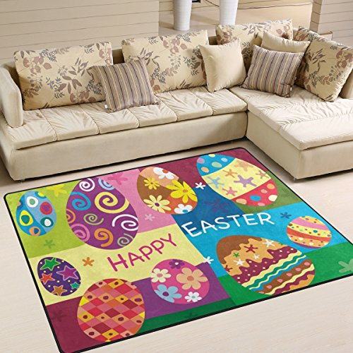 "ALAZA Area Rug 5'3""x4'Colorful Floral Happy Easter Eggs, Non"