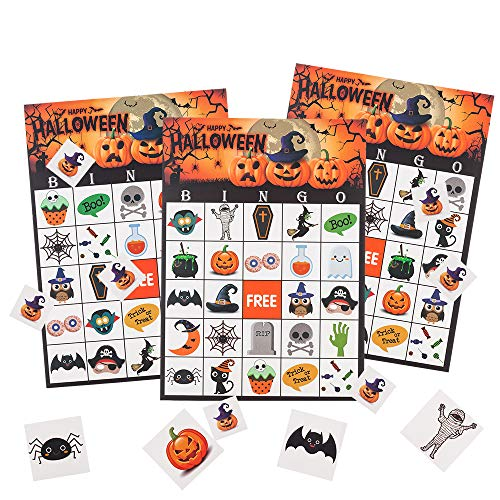 MISS FANTASY Halloween Bingo Game for Kids Halloween Party Games Classroom Activities for 24 Players (Bingo)]()