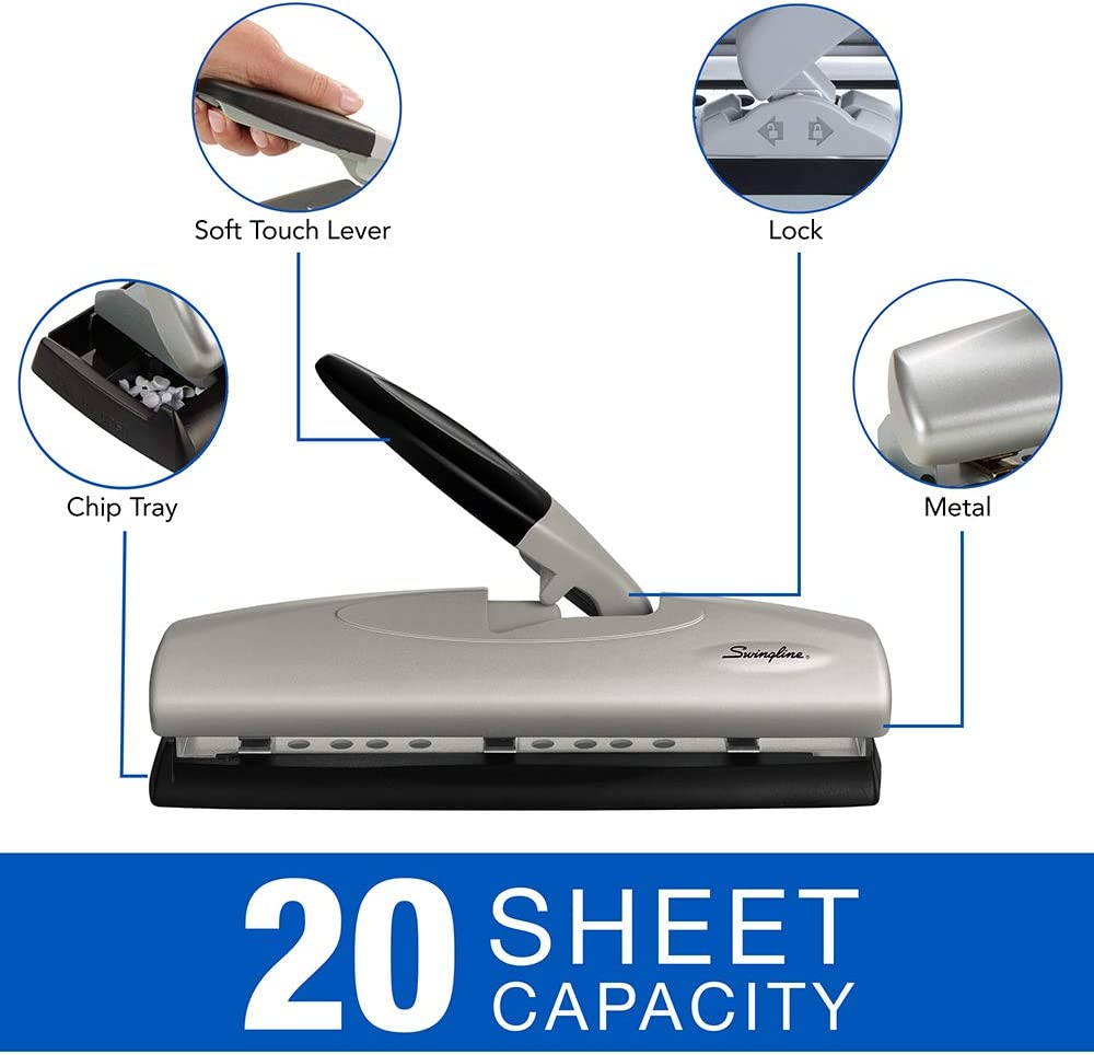 20 Sheet Punch Capacity Black//Silver Adjustable Swingline Desktop Hole Punch Hole Puncher 2-7 Holes 74030 LightTouch