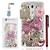 Ancerson 3D Handmade Luxury Bling Shining Glitter Crystal Diamond Rhinestones Hard Back Case Cover for LG G3 D855 Free with a Red Stylus Touchscreen Pen, a 3.5mm Universal Crystal Diamond Rhinestones Bling Lovely Silvery Flower Blue Panda Pendant Dust Plug and a Cleaning Cloth(Transparent Clear Case) (Golden Pink Crystal Diamond Swan Pink Flower Golden Flower Pink Bow Bowknot Golden Perfume Bottle Silvery Butterfly Pink White Rain Drop)