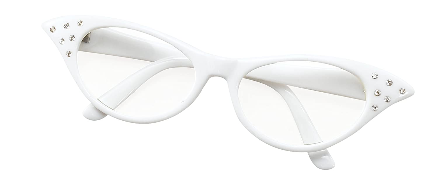 Bristol Novelty Glasses. 50s Women's Style White Costume Accessories - Women's - One Size BA142W WZ-CEIT-XUDJ