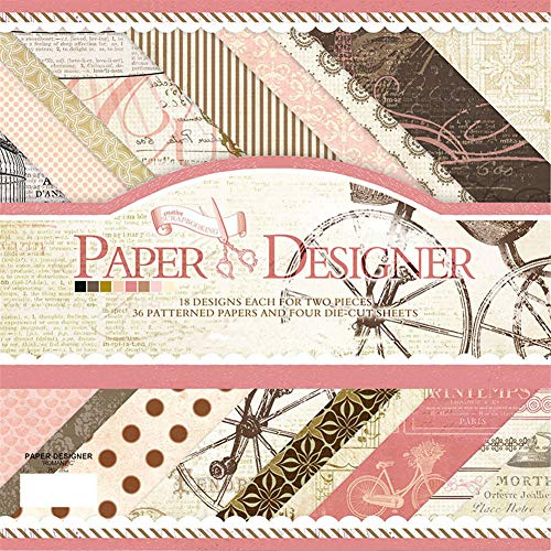 S&B Scrapbook Paper Book Vintage Pad Classic Origami DIY Card Photo Frame Album Creative Handmade Decorative Die Cuts Background Multi Color Size (7