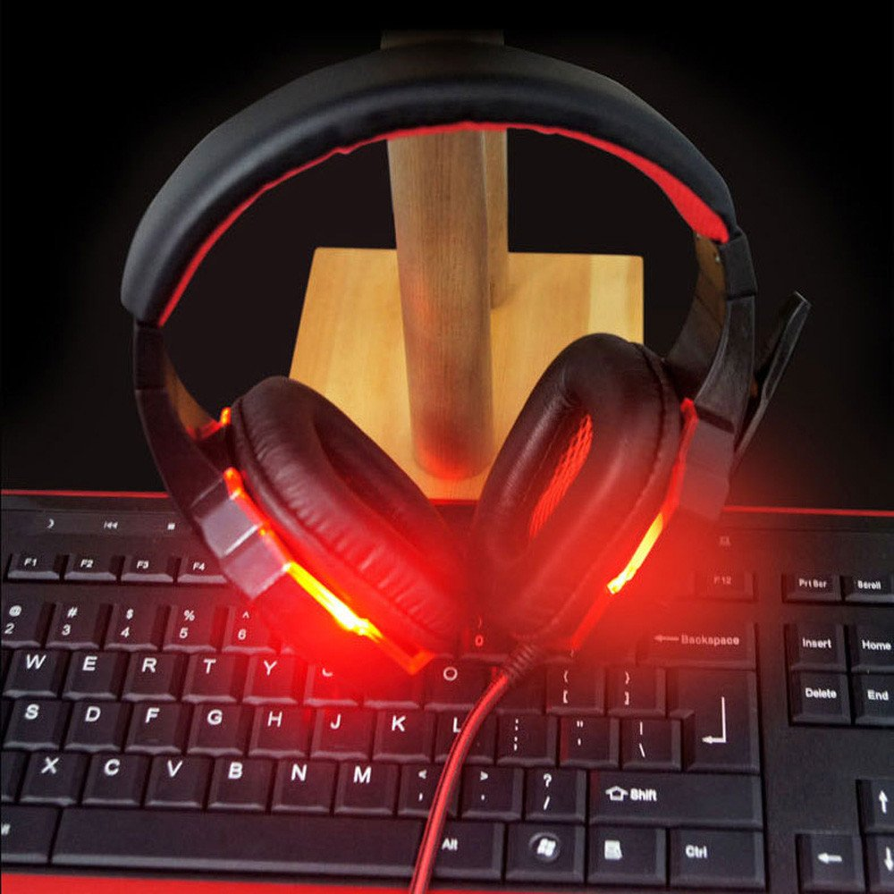 Anferstore Surround Stereo Gaming Headset Headband Headphone,USB 3.5mm Mic Noise Cancelling With LED Light,Suitable for Laptop, Mac, iPad, Computer etc (Red) by Anferstore (Image #4)