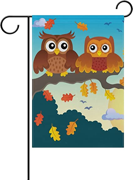 Amazon Com Naanle Autumn Owls On Tree Double Sided Polyester Garden Flag 12 X 18 Inches Thanksgiving Owl Decorative Flag For Party Yard Home Decor Garden Outdoor
