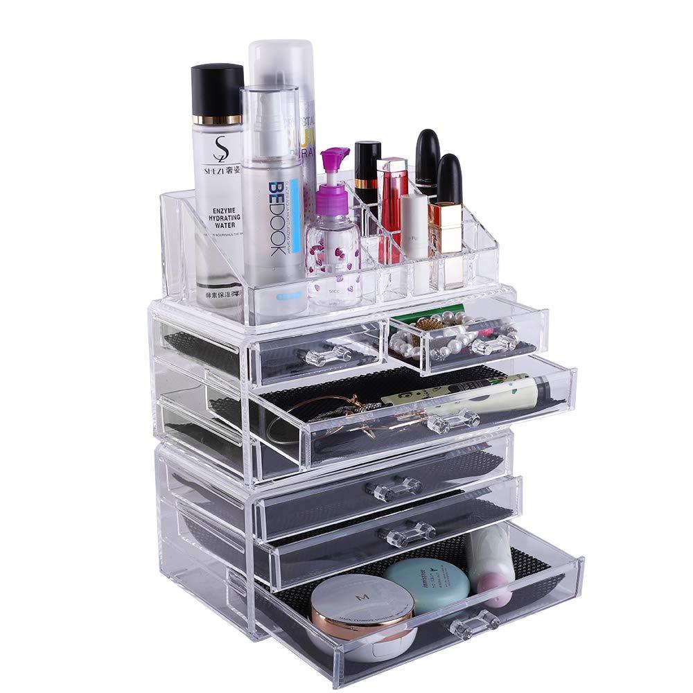 Lovinland Makeup Organizer Set 2 Small Drawer and 5 Large Drawer Plastic Cosmetic Jewelry Display Storage Rack Transparent