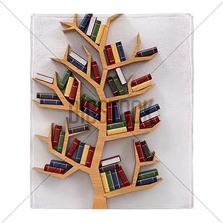 CafePress Tree Of Knowledge Bookshelf On Whit Throw Blanket