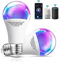 Aigostar 2 Pack Bombilla LED inteligente WiFi A60, 15W, 1300LM, E27 casquillo gordo, RGB + CCT. Regulable multicolor…