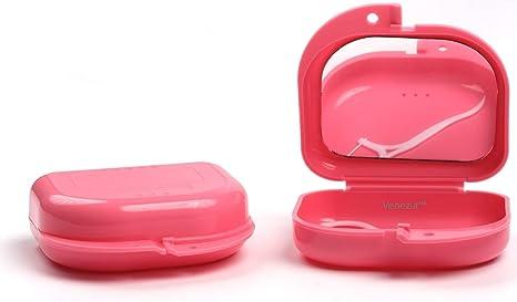 Caja para retenedores ventilada con espejo interior incluido, caja protectora para ortodoncia, protector bucal, con palillo de hilo dental gratis, delgada: Amazon.es: Salud y cuidado personal
