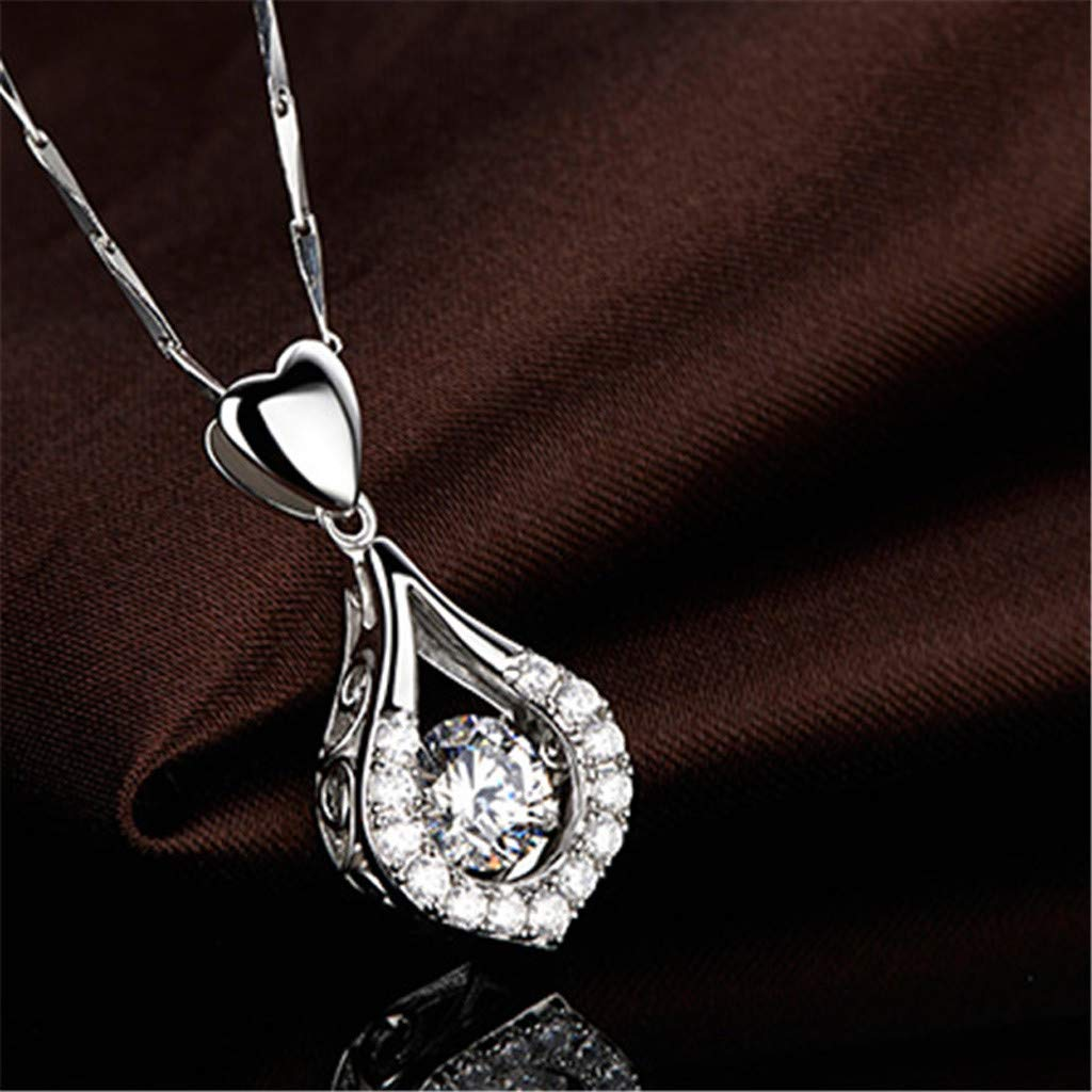 CYCTECH Women Sterling Silver Pendant Necklace,Twinkling Heart Waterdrop Stone Necklace