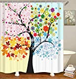 Pink and Orange Shower Curtain Life Tree Shower Curtain Set 72