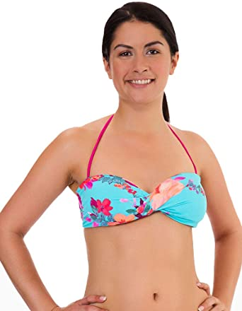 da7db9731a3f6 Mio Swim Garden Party Blue and Pink Floral Bikini Bandeau Top BF15520011  X-Small  Mio Swim  Amazon.co.uk  Clothing