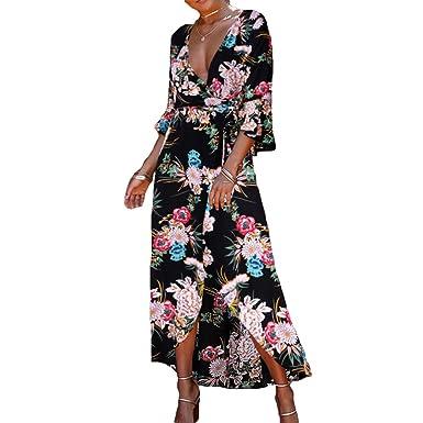 Kootk Bohemia Dress Women Summer Dresses Printed Deep V Neck Dress 3/4 Sleeve Beachwear
