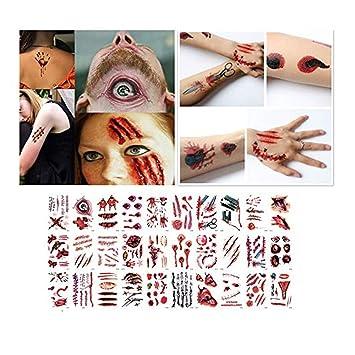 99AMZ Tatuajes Temporales Halloween Horror Pegatinas Cuerpo Brazo ...