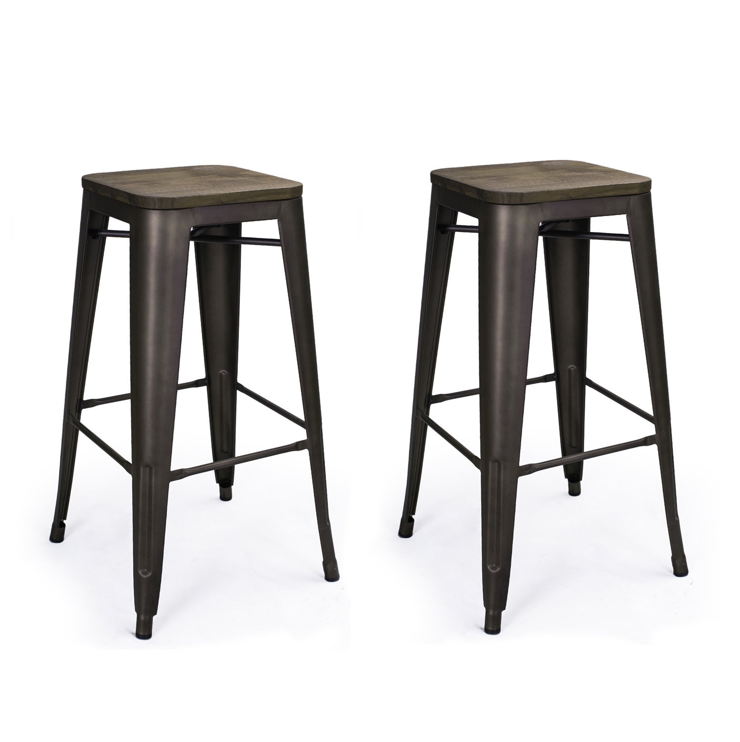 "Amazon Adeco 30"" High Metal bar Stools Vintage Wood Top Seat"