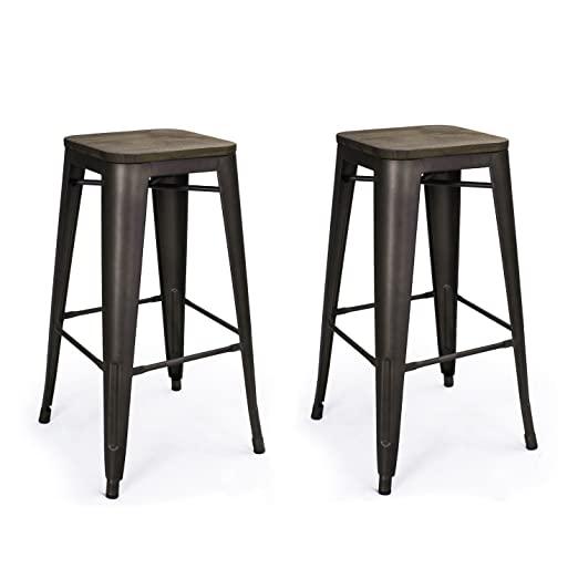 Amazon.com: Metal Barstools with Wood Seat, Homebeez Top Seller Tolix Style Metal Bar Stool 30 inches Bistro Stools (Set of two): Patio, Lawn & Garden