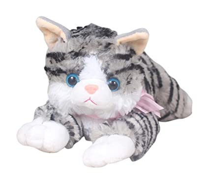 Tickles Grey Cute Laying Cat Stuffed Soft Toy for Kids 20 cm