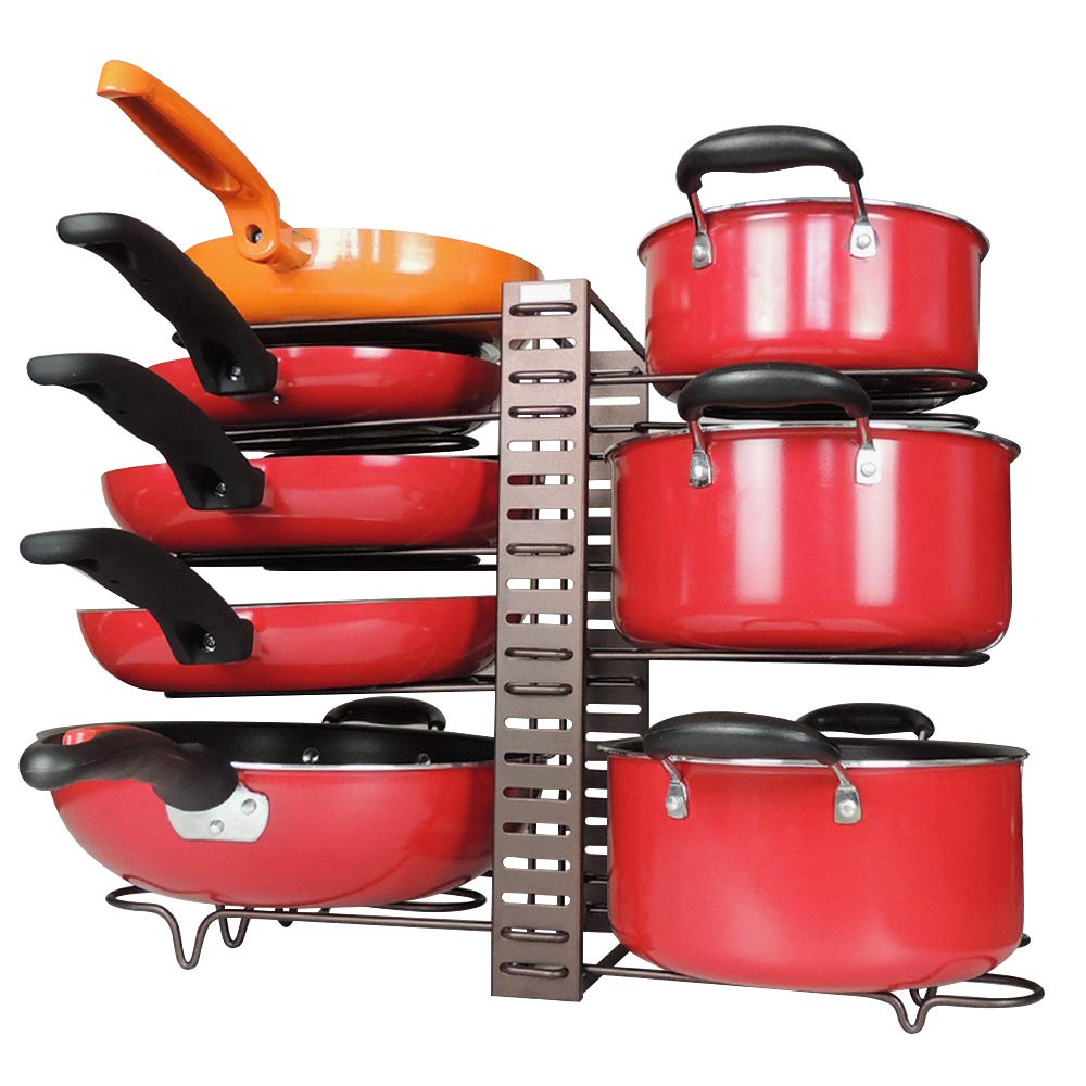 Pan Pot Lid Rack Organizer Adjustable, 8 Pots CookwareBakeware Rack Holder, Kitchen Cabinet Counter Pantry Storage Shelf