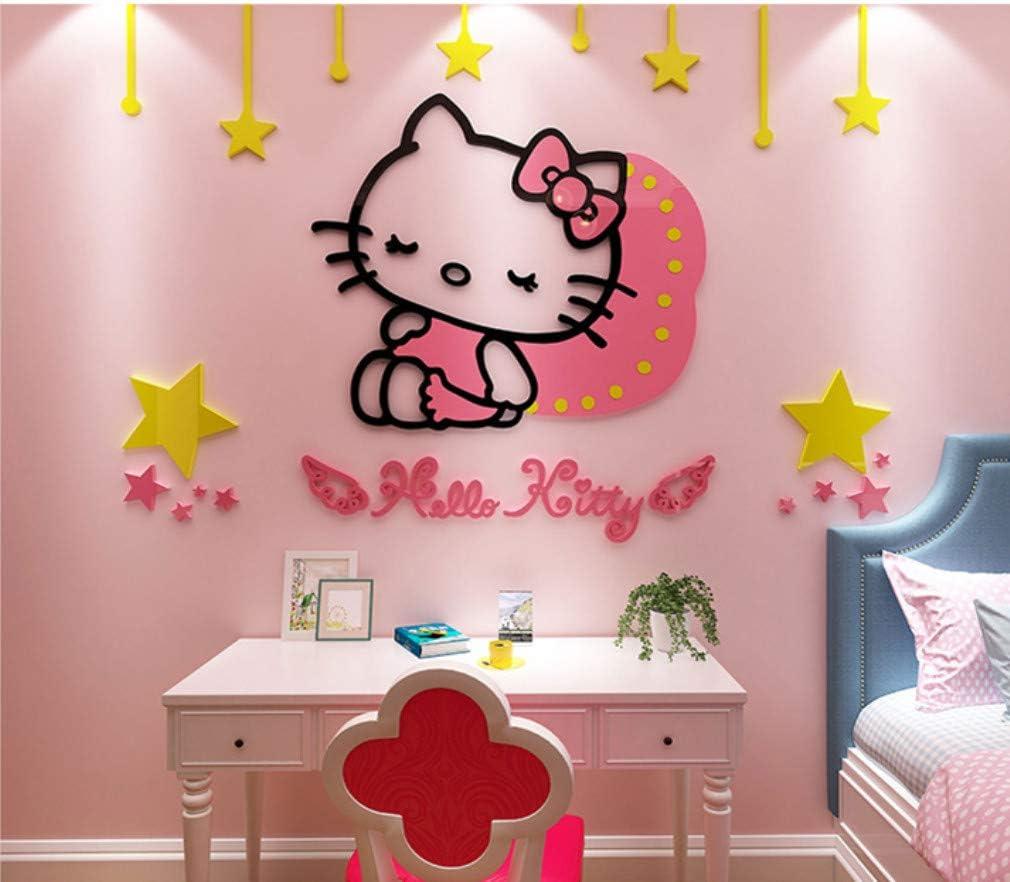 Cartoon Hellokitty Cat Est/éreo Pegatinas De Pared Pegatinas Dormitorio Sala De Ni/ños Habitaci/ón Habitaci/ón Decoraciones 80 50Cm