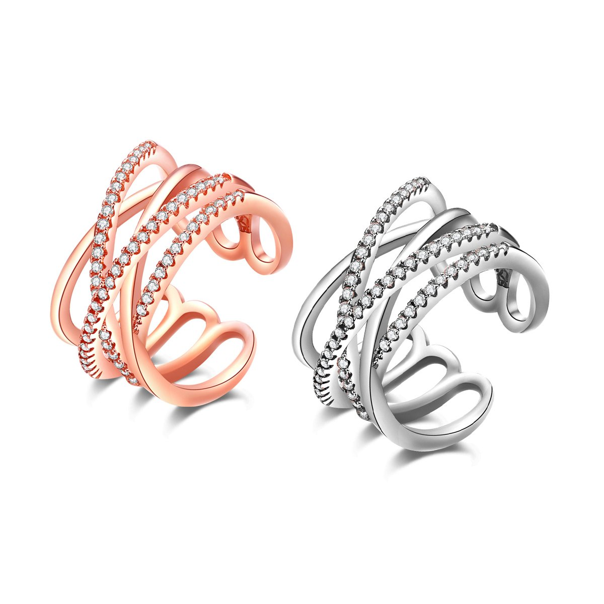 efigo Fashion Womens Statement Ring Stackable Band Rings for Women Sterling Silver/Rose Gold Jewelry
