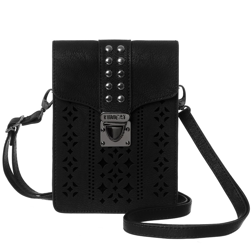 MINICAT Women Hollow Texture Small Crossbody Bags Cell Phone Purse Wallet With Credit Card Holder(Black-Thicker)