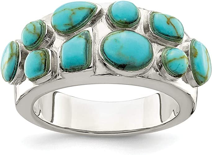 Solid 925 Sterling Silver Polished Synthetic Simulated Turquoise Pendant