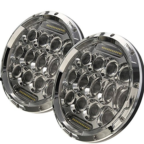 AUSI-Pair-7Inch-Round-Led-Headlights-75W-DRL-HiLo-Beam-Chrome-Headlight-FIT-Kenworth-T2000-T-2000-1998-2010-Tractor-Trailer-Truck-Lamps-With-H4-H13-Anti-Flicer-Decoder-Harness