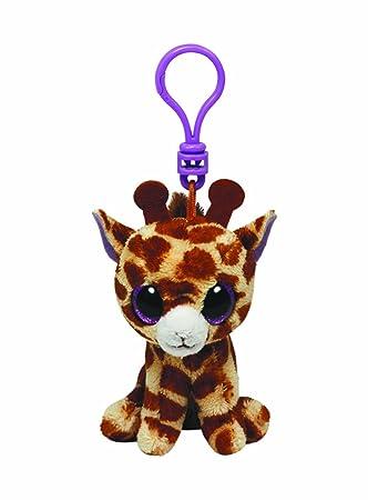 Ty Beanie Boos - Jirafa de peluche Safari con anilla - Peluche Llavero Beanie Jirafa 10cm