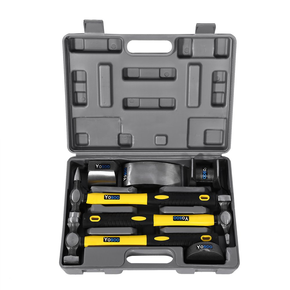 Zerone Panel Beating Hammers /& Dollies//Body Repair Kit 7Pcs Car Body Repair Tool Kit with Fibre Glass Handles