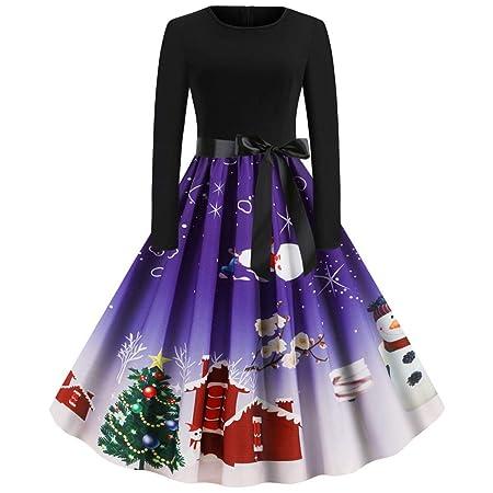 ღLILICATღ Vestidos Navidad Mujer De La Navidad De Manga Larga O ...